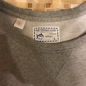 Southern Tide Sweaters - Southern Tide Upper Deck Crewneck (Large, Gray)